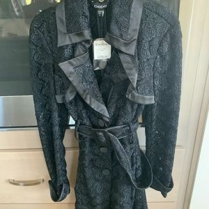 Bebe Black Lace Trench Coat - Size S - Never worn